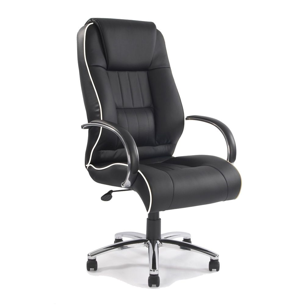 Dijon Executive Office Chair, Luxurious Leather in Black or Cream with Contrast Piping Chrome Frame
